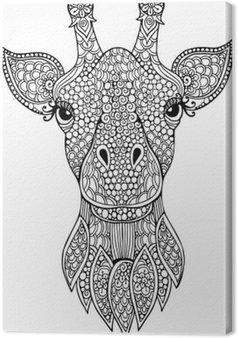 Tableau sur Toile Tiré par la main doodle tête de girafe illustration pour livre de coloriage