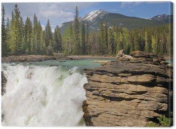 Tableau sur Toile Tombe dans la rivière de montagne robuste dans les Rocheuses canadiennes