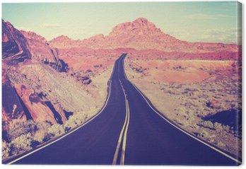 Tableau sur Toile Tonique route du désert incurvé Vintage, concept de Voyage, États-Unis
