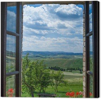 Tableau sur Toile Toscane paysage de la fenêtre