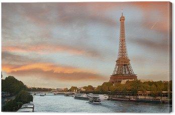 Tableau sur Toile Tour Eiffel avec des bateaux sur Siene à Paris, France