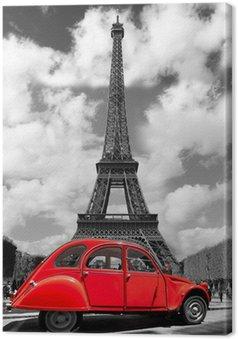Tableau sur Toile Tour Eiffel avec la vieille voiture rouge à Paris, France
