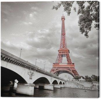 Tableau sur Toile Tour Eiffel monochrome colorisation sélective