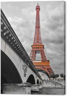 Tableau sur Toile Tour Eiffel noir et blanc et rouge
