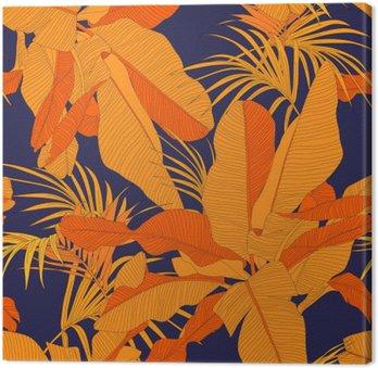 Tableau sur Toile Trendy tissu tropical seamless, paume feuilles rouges sur fond bleu marine, illustration vectorielle