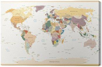 Tableau sur Toile Très détaillées politiques Couleurs Carte du monde Vintage