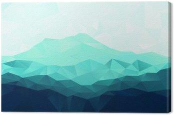 Tableau sur Toile Triangle arrière-plan géométrique avec la montagne bleue