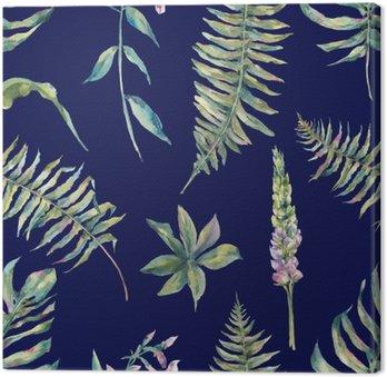 Tableau sur Toile Tropical feuilles aquarelle seamless