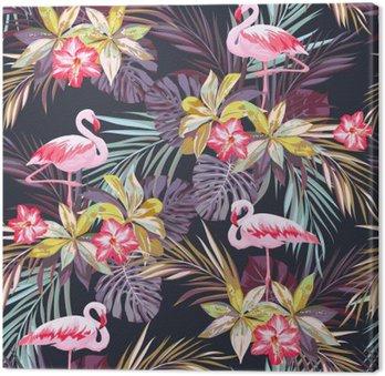 Tableau sur Toile Tropical seamless pattern d'été avec des oiseaux de flamants et de plantes exotiques