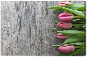 Tableau sur Toile Tulipes sur bois