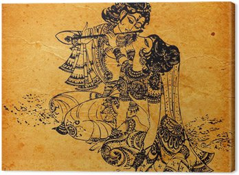 Tableau sur Toile Un vieux Radha Krishna peintures
