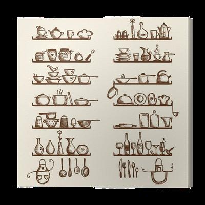 Tableau sur toile ustensiles de cuisine sur les tablettes for Conception cuisine pour tablette