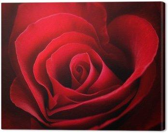 Tableau sur Toile Valentine Rose rouge. En forme de coeur