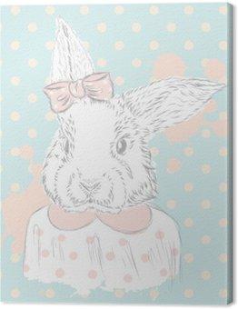 Tableau sur Toile Vecteur de lapin. Dessin à la main de l'animal. Impression . Branché. Lapin Aquarelle. Carte postale vintage.