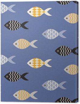 Tableau sur Toile Vecteur noir et blanc poisson seamless. École de poisson en rangées sur motif bleu océan. thème marin d'été.