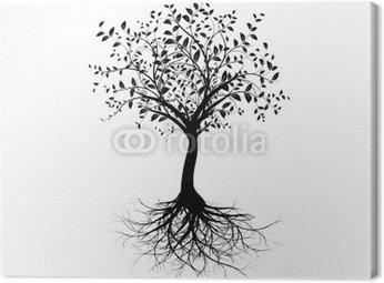 Tableau sur Toile Vecteur série, jeune arbre racines avec - vecteur arbre avec des racines