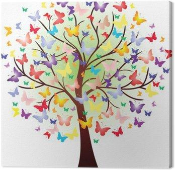 Tableau sur Toile Vector bel arbre de printemps, composée de papillons