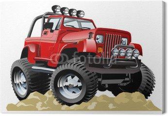 Tableau sur Toile Vector cartoon jeep en un seul clic repeindre
