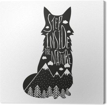 Tableau sur Toile Vector dessiné à la main lettrage illustration. Entrez dans la nature. affiche Typographie renard, montagnes, forêt de pins et de nuages.