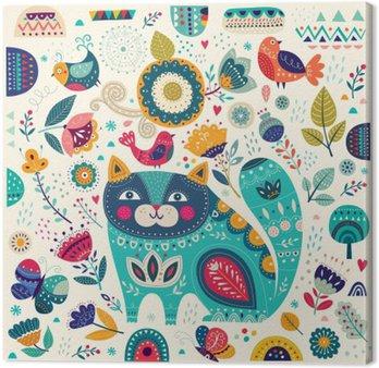Tableau sur Toile Vector illustration colorée avec chat belles, les papillons, les oiseaux et les fleurs