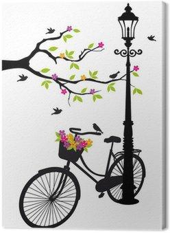 Tableau sur Toile Vélo avec lampe, des fleurs et des arbres, vecteur