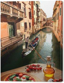 Tableau sur Toile Venise avec la pizza italienne contre canal en Italie