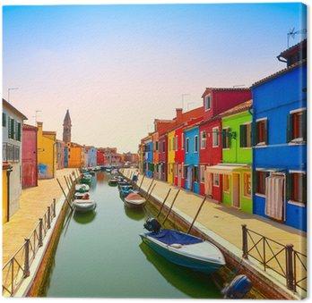 Tableau sur Toile Venise repère, île de Burano canal, maisons et bateaux colorés,