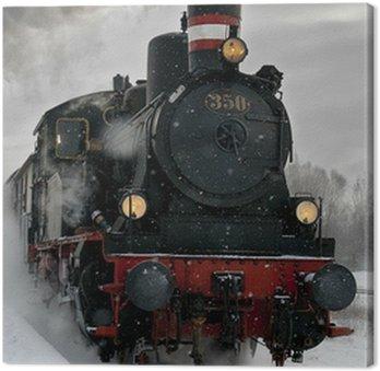Tableau sur Toile Vieille locomotive à vapeur dans la neige