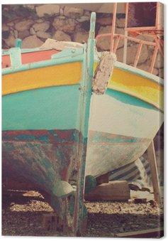 Tableau sur Toile Vieux bateau, abstract vintage background - impressions de la Grèce