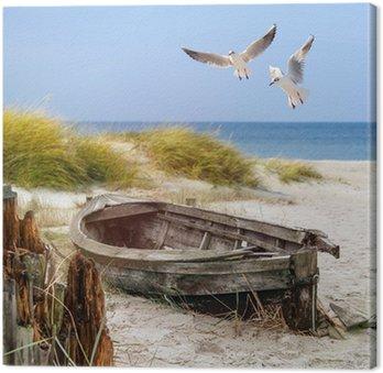 Tableau sur Toile Vieux bateau de pêche, des mouettes, plage et mer