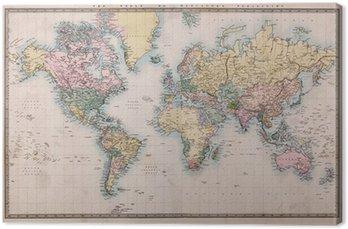 Tableau sur Toile Vieux Carte antique du monde sur la projection de Mercators