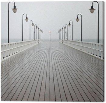 Tableau sur Toile Vieux quai sous la pluie sur la mer Baltique Orlowo de Gdynia en Pologne