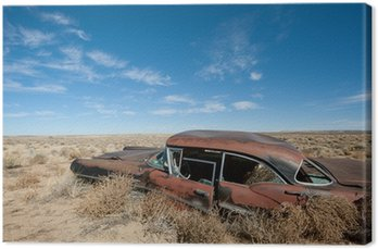 Tableau sur Toile Vieux véhicule rouillé au milieu de désert du Nouveau-Mexique