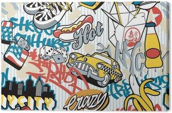 Tableau sur Toile Ville de New York, éléments urbains collage sans couture