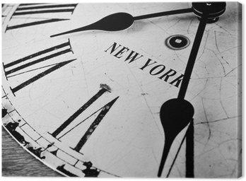 Tableau sur Toile Ville de New York horloge noir et blanc