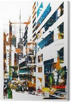 Tableau sur Toile Ville urbaine moderne, illustration peinture