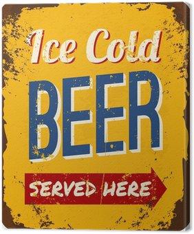 Tableau sur Toile Vintage Beer Plaque en métal