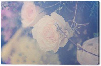 Tableau sur Toile Vintage fleur rose bouquet fond doux
