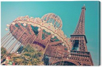 Tableau sur Toile Vintage merry-go-round et la tour Eiffel, Paris France