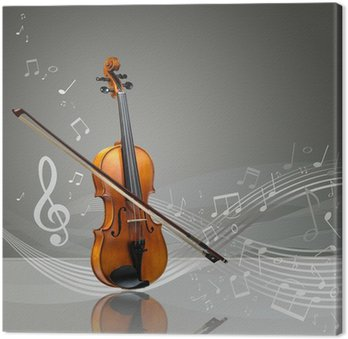 Tableau sur Toile Violon et bâton de violon avec des notes de musique