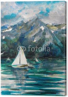 Tableau sur Toile Voilier sur le lac aquarelle peinte.