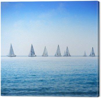 Tableau sur Toile Voilier yacht régate course sur l'eau de mer ou de l'océan