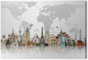 Tableau sur Toile Voyage dans le concept de monde monuments