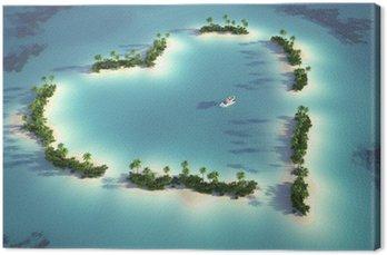 Tableau sur Toile Vue aérienne de l'île en forme de cœur