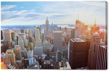 Tableau sur Toile Vue aérienne de Manhattan au coucher du soleil, New York City