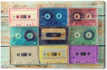 Tableau sur Toile Vue de dessus (ci-dessus) plan de cassette rétro sur la table en bois - cru styles d'effets de couleurs.