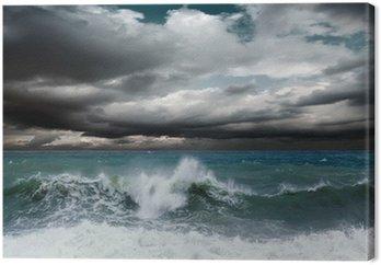 Tableau sur Toile Vue du paysage marin tempête