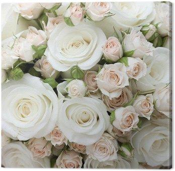 Tableau sur Toile Wedding bouquet de roses blanches pinkand