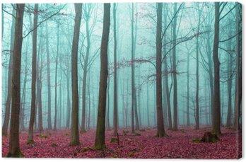 Tableau sur Toile Zauber Wald à türkis und rot