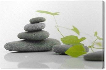 Tableau sur Toile Zen nuls - caillou sur un fond blanc avec les plantes vertes